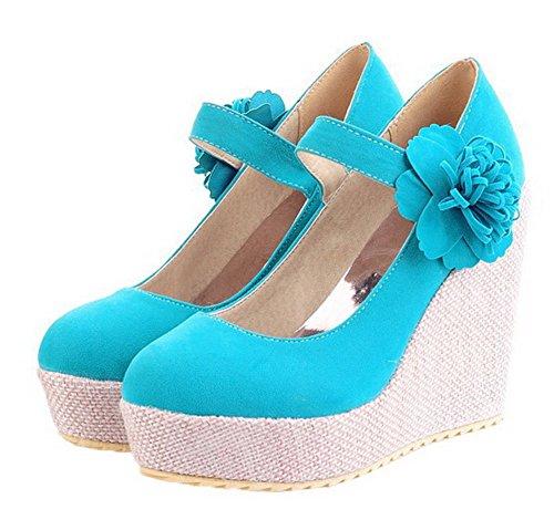 De Cerrada Gmxdb006133 Agoolar Tacón Esmerilado Zapatos Velcro Mujeres Azul Puntera Sólido UqPOWPw10
