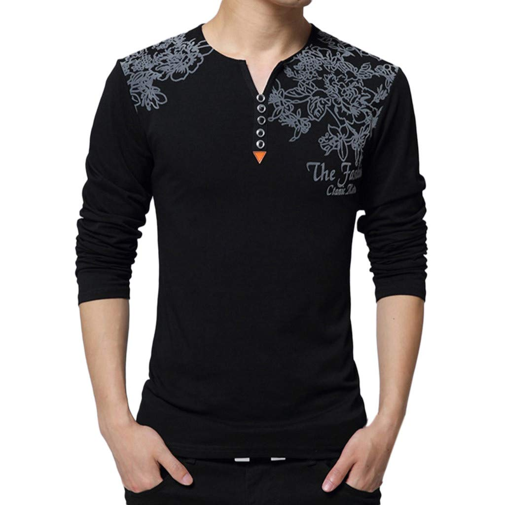 GREFER Men's Tall and Big T Shirt Fashion Printing V Neck Button Tops Long Sleeved Blouse Black by GREFER