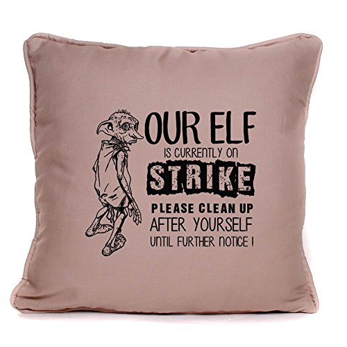 Harry Potter Gift Quote - Dobby The Elf On Strike - Cushion Pillow Cover - 18 x 18 inch