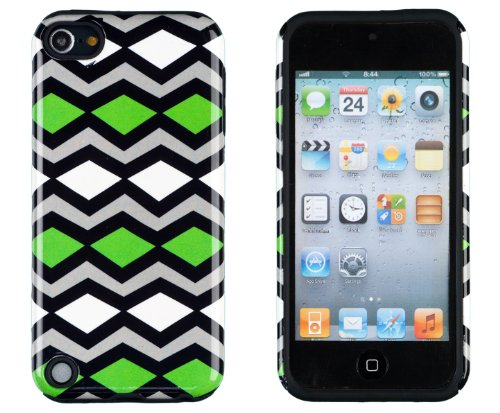 DandyCase 2in1 Hybrid High Impact Hard Lime Green Tribal Chevron Pattern + Black Silicone Case Cover For Apple iPod Touch 5 (5th generation) + DandyCase Screen Cleaner