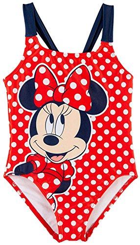 Disney Girls Minnie Mouse One-Piece Polka-Dot Swimsuit (Red/Navy, 6X) (One Disney Piece Swimsuit)