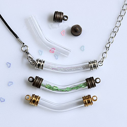 536e0676f9af Amazon.com: Baosity 10pcs Curved Tube Glass Bottle Vial Pendant Wish ...