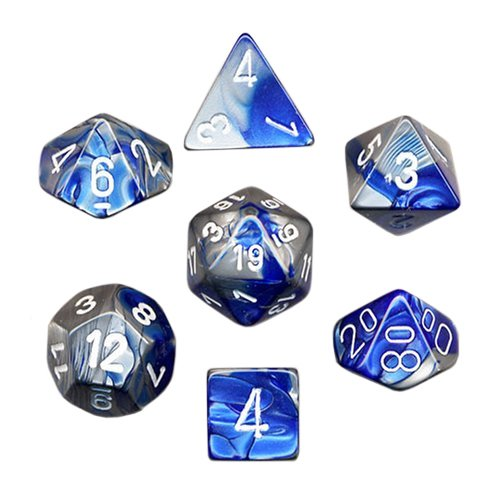 Polyhedral 7-Die Gemini Chessex Dice Set - Blue-Steel with White CHX-26423