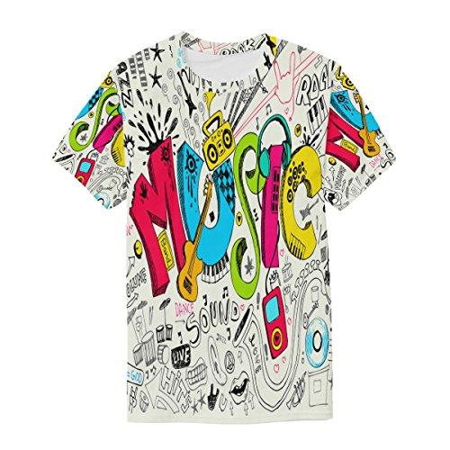Funny Man Music shirt T Doodle manica Alaza girocollo corta multicolor Graffiti Casual d5Yxgxn