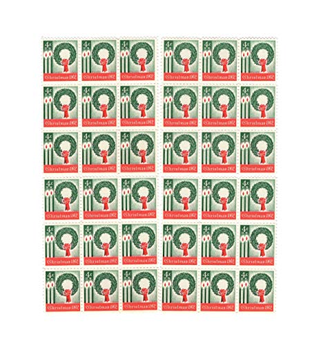 US Post Office Dept 1962 Vintage Christmas ~ Wreath & Candles ~ Lot of 36 New Postage Stamps (Scott -