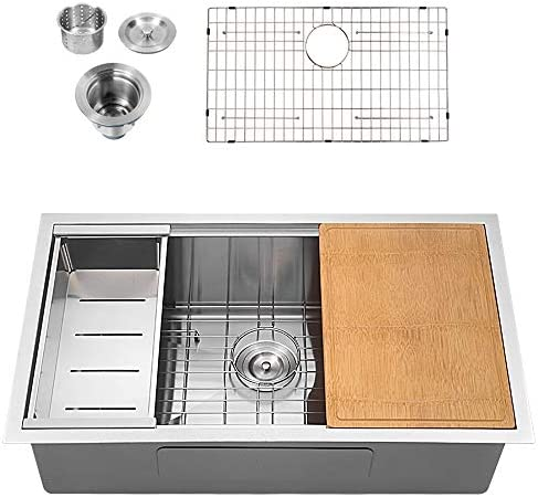 Sarlai SUS3018R1 30 Inch Ledge Undermount Deep 16 Gauge R10 Tight Radius Single Bowl Stainless Steel Kitchen Sink