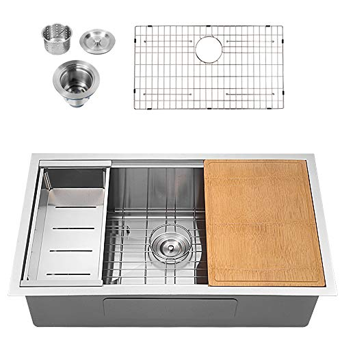 - Sarlai SUS3018R1 30 Inch Ledge Undermount Deep 16 Gauge R10 Tight Radius Single Bowl Stainless Steel Kitchen Sink