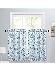 Haperlare Kitchen Curtains for Bathroom Teal Heavyweight Watercolor Flower Pattern Small Tier Curtains 30 Inch Farmhouse Floral Leaf Café Curtain Set Bathroom Window Curtain, Set of 2