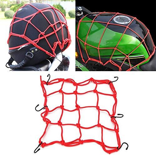 REFIT Red/Blue/Black Cargo Net Web Helmet Carrier for Honda Yamaha Kawasaki Suzuki Harley Electra Road Glide King Sportster Dyna ()