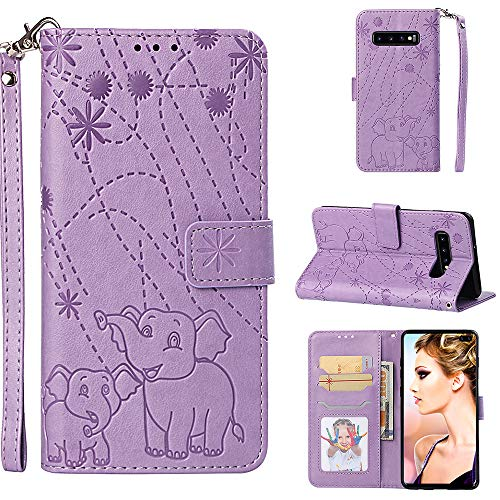 Galaxy S10 Plus Wallet Case,Yoomer Firework Elephant Pattern Premium PU Leather Magnetic Flip Folio TPU Soft Bumper Slim Cover Card Holders & Hand Strap Wallet Purse Case for Galaxy S10 Plus 6.4