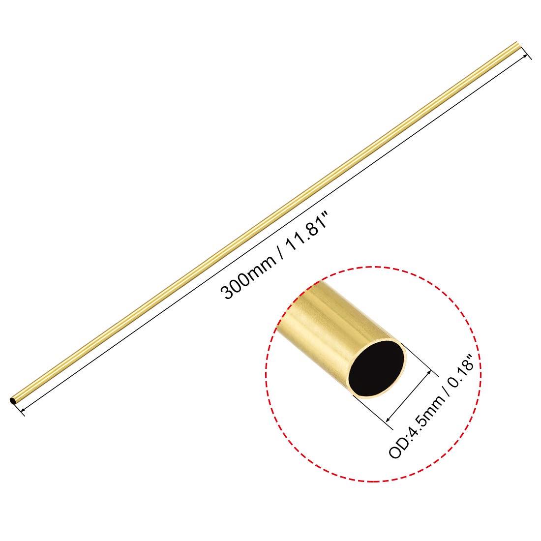 300 mm, 4,5 mm, di/ámetro exterior de 0,2 mm, 2 unidades Tubo redondo de lat/ón Sourcingmap