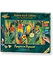 Schipper 609260853 cyfry, papagie w lasach deszczowych dla dorosłych, łącznie z pędzlem i farbami akrylowymi, Triptychon, 50 x 80 cm