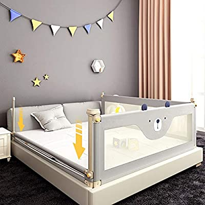 YSNBM Child Playpen Bed Rail/Shatter-Resistant Protective Railing Portable Folding Bed Guard Kids Child Toddlers Safety Side Rail Height Adjustable with Lockable Buckle Unilateral Baby Safety Playpen: Home & Kitchen