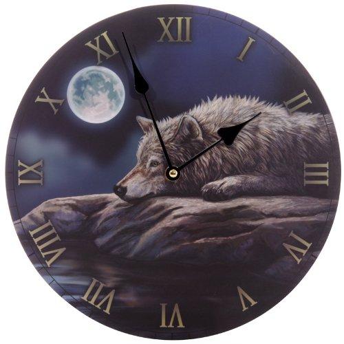 Puckator CKP60 Lisa Parker Horloge Imprimée Loup dans la Nuit Paisible 3 x 30 x 30 cm #N/A