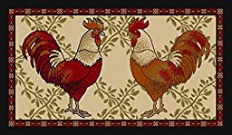 Kitchen Collection Rooster Beige Multi-Color Printed Slip Resistant Rubber Back Latex Contemporary Modern Runner Area Rug (9112) (18\