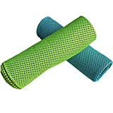 Cooling Towel(pack of 2),Mesh Instant Ice Sports Towel(40'' Length x 12'' Width) for Fitness,Sports,Gym,Camping,Running,Climbing&Yoga Green and Blue