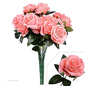 Artiflr Artificial Flowers Rose Bridal Bouquet 2Pack Fake Silk Flowers Bouquet Pink Rose Flowers Wedding Bouquet for Home Garden Party Wedding Home Decoration 40
