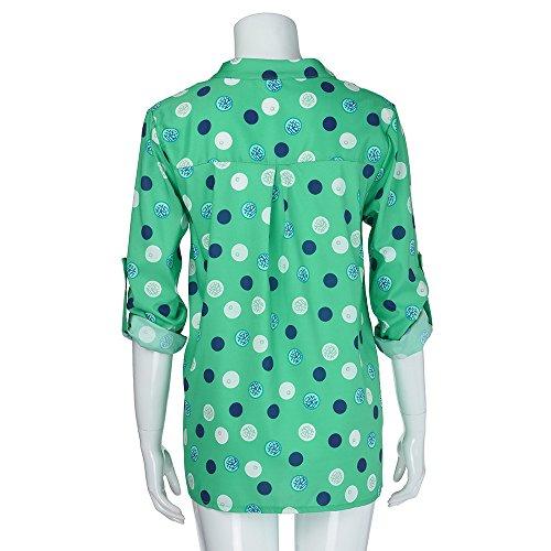 Grande Femme Bouton Solike Shirt Pois Longues Chic Automne Taille T Manches Casual Tops Loose Tunique S Printemps Blouse 5XL V Col avec Chemise Vert qfxESHPf
