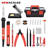 Soldering Iron Kit Electronics 27-in-1,DIY Adjustable Temperature 60W Welding Solder Gun, 5pcs IRON Tips Desoldering Pump Wire Stand in Portable Tool Box