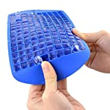 Image of Food Grade Silicone Ice 160 Cubes Mold - Keyboard Shape - Excellent Flexible Ice Lattice Maker Tray For Whisky//Bean Jelly//Pudding//Red Wine Storage//Spices Reserve (Blue)
