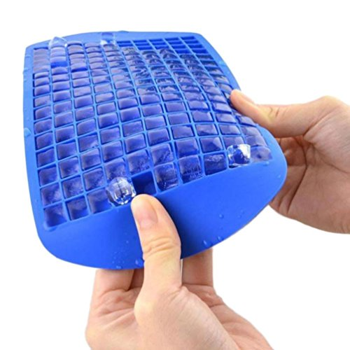 Food Grade Silicone Ice 160 Cubes Mold - Keyboard Shape - Excellent Flexible Ice Lattice Maker Tray For Whisky//Bean Jelly//Pudding//Red Wine Storage//Spices Reserve (Blue)