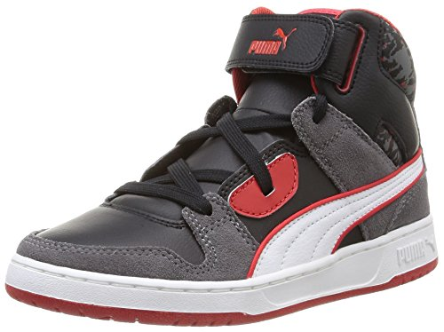 Red White Gris Risk Hautes Puma Street Mixte Baskets Wcamo Black Enfant Jr Gray Rebound High Steel F8Z86nw47