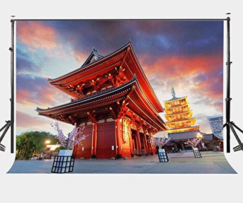 Japan Tokyo Building Background Asakusa Temple Architectural Landscape Photography Backdrop Studio Props Wall 5x7ft Room Mural Backdrop BG851