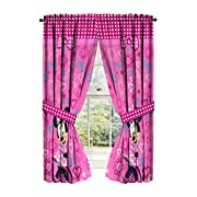 Disney Minnie Mouse Window Panels Curtains Drapes Pink Bow-tique, 42  x 63  each