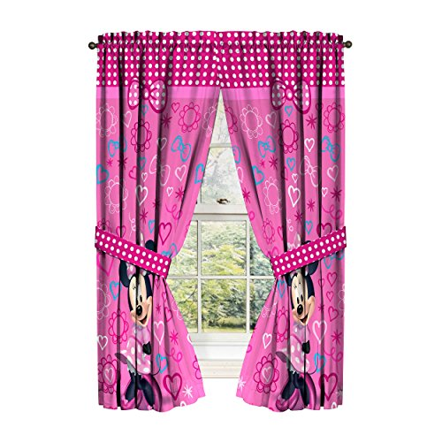 Disney Minnie Mouse Window Panels Curtains Drapes Pink Bow-t