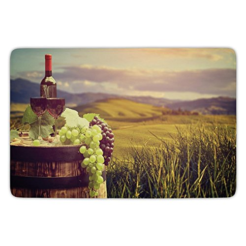 Harvest Vineyard (Bathroom Bath Rug Kitchen Floor Mat Carpet,Wine,Italy Tuscany Landscape Rural Vineyard Autumn Harvest Grapes Drink Viticulture Decorative,Green Black Brown,Flannel Microfiber Non-slip Soft Absorbent)