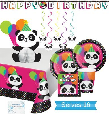 Panda Party Supplies - Plates Cups Napkins Tablecloth Banner Centerpiece and Decorations for 16 People - Perfect panda birthday party decorations! for $<!--$37.95-->