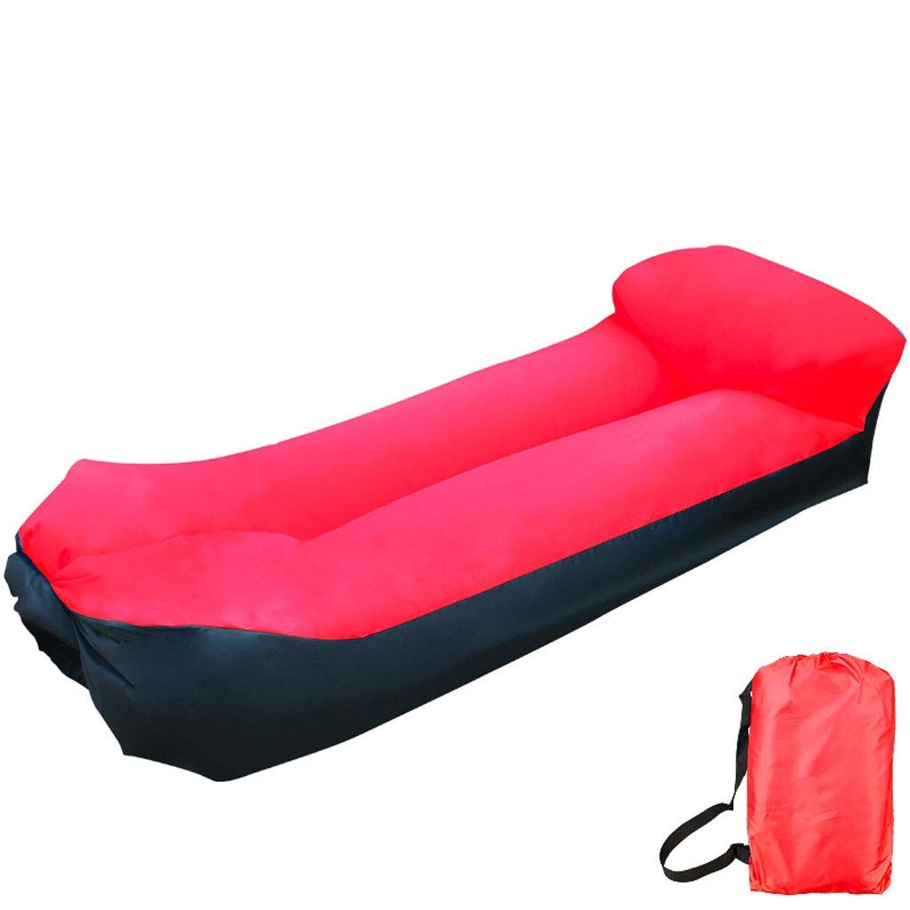 Inflatable Lounger Air Sofa Blow Up Couch Chair Outdoor Lazy Sofa Air Lounger Inflatable Lazy Bag Air Hammock Portable-Couch for Beach Traveling Camping Park Picnics & Swimming Pool (Color : Red) by Chenguojian