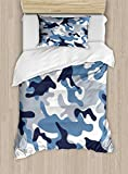 Ambesonne Camouflage Duvet Cover Set, Illustration with Abstract Soft Colors Pattern Camouflage Design, Decorative 2 Piece Bedding Set with 1 Pillow Sham, Twin Size, Slate Blue Indigo Grey