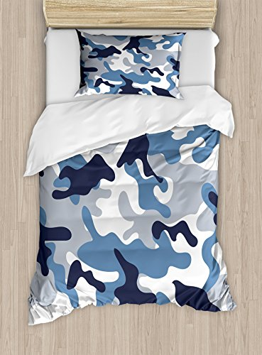 Ambesonne Camouflage Duvet Cover Set Twin Size, Illustration with Abstract Soft Colors Pattern Camouflage Design, Decorative 2 Piece Bedding Set with 1 Pillow Sham, Blue ()