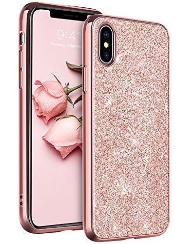 YINLAI iPhone Xs Case, iPhone X Case, Bling Glitter Sparkle Soft TPU Bumper Hard PC Back Cover Shiny Shockproof Protective Phone Cases for 5.8 inch iPhone X (2017) / iPhone Xs (2018) Rose Gold/Pink