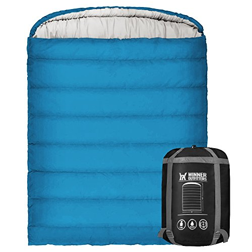 WINNER OUTFITTERS Double Sleeping Bag with Compression Sack, Mummy Hood with Zipper, Portable and Lightweight Sleeping Bags for Adults, 3-4 Season Camping, Hiking, Traveling, Backpacking and Outdoor