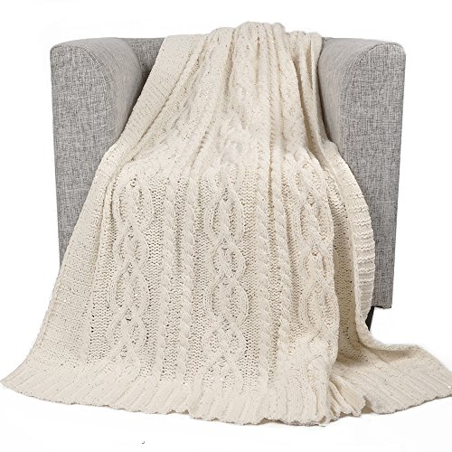 Battilo Sequin Soft Cable Knit Luxury Chenille Throw Blanket, 50
