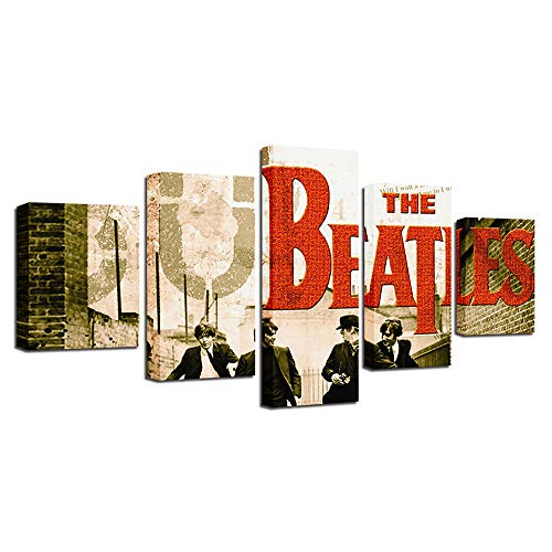 YANGMAN The Beatles 5 Panels Canvas Print Picture Wall Art Poster for Home Living Room Bedroom Wall Decor Best Gift for Music Lovers,Framed, 5 Panels,30x402+30x602+30x801