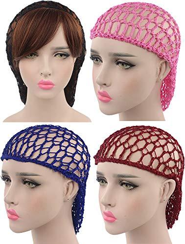 WEEGCN Women Girl Hair Net Fashion Bun Cover Crochet Hair Snood for Sleeping Ballet Dance Skating Pack of 4 - Hair Crocheted Net