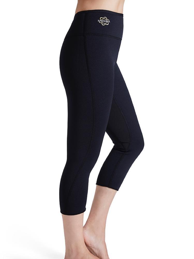 Black Zaggora Hot Pants High Rise Capri Thermo Slimming Leggings