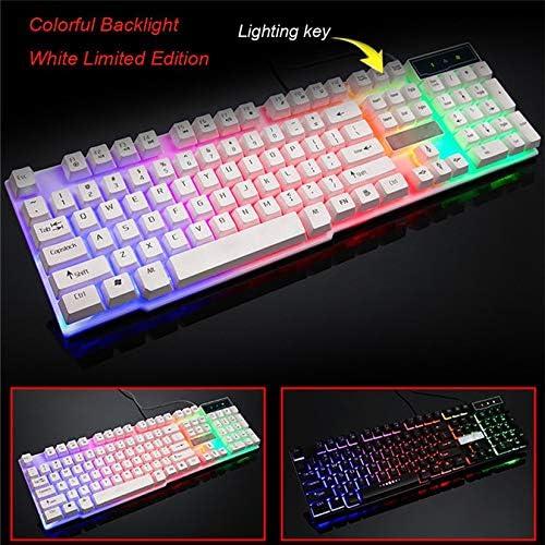 DADUIZHANG Profession Game Mechanical Gaming Keyboard 104 Keys Fell Keyboard Wired USB Keyboards RGB Led Backlit White