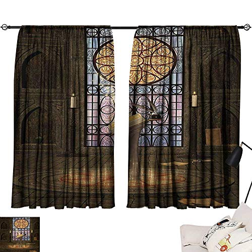 - Ediyuneth Living Room Curtains Gothic,Lectern on Pentagram Symbol Medieval Architecture Candlelight in Dark Altar,Olive Green Mustard 84