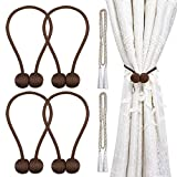 curtain tie back ideas  Magnetic Curtain Tiebacks, Decorative Curtain Holdbacks Rope Holdbacks Convenient Drape Tie Backs for Thick Sheer Curtains Light Weight Drapes Outdoor and Indoor Curtains,Chocalate(4 Pack)