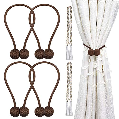 Magnetic Curtain Tiebacks, Decorative Curtain Holdbacks Rope Holdbacks Convenient Drape Tie Backs for Thick Sheer Curtains Light Weight Drapes Outdoor and Indoor Curtains,Chocalate(4 Pack)