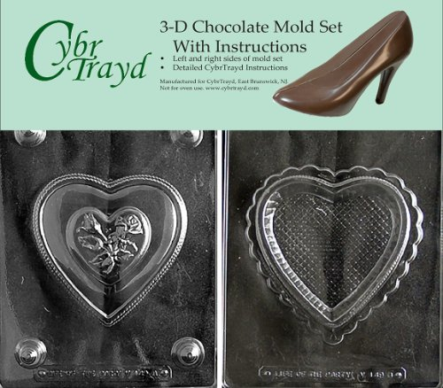 - Cybrtrayd V149AB Chocolate Candy Mold, Includes 3D Chocolate Molds Instructions and 2-Mold Kit, Pretty Heart Pour Box