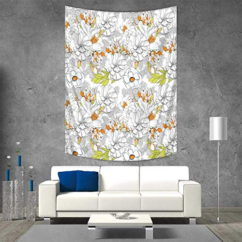 Anhuthree Floral Wall Hanging Tapestries Summer Vegetation Vivid Color Scheme Greenery Design Blooming Nature Inspired Large tablecloths 57W x 74L INCH Orange Green Pink - Nancy Floral Wall Hanging