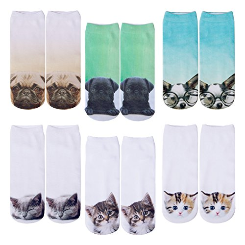 6 Pack Women Girls 3D Funny Crazy Cartoon Novelty No Show Animals Ankle Socks