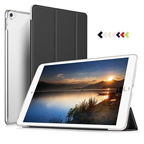 Btm Tab - IVSO Apple New iPad Pro 12.9 Case - Ultra Slim Smart Case with Semi-Transparent PC Frosted Rubber Back Cover for Apple New iPad Pro 12.9 inch 2017 Tablet(Black)