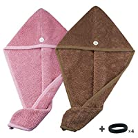 Microfiber Hair Drying Towels, Hair Dry Turban Wrap,Quick Hair Dry Towel for Curly, Thick and Long Hair 2 Pieces (Pink&Brown)+ Hair Tie 4 Pieces