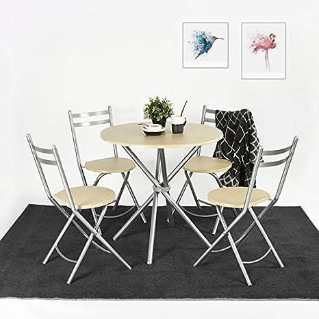 Conjunto de mesa de comedor y 4 sillas plegables, 5 piezas ...